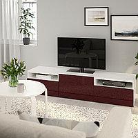 БЕСТО Тумба под ТВ, белый Сельсвикен, глянцевый темный красно-коричневый, 180x42x39 см, фото 1