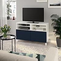 БЕСТО Тумба под ТВ, с дверцами, белый, нотвикен/стуббарп синий, 120x42x74 см, фото 1