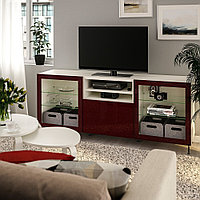 БЕСТО Тумба д/ТВ с ящиками, белый СЕЛЬСВ/СТАЛЛАРП, глянцевый темный красно-коричневый, 180x42x74 см, фото 1