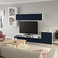 БЕСТО Шкаф для ТВ, комбин/стеклян дверцы, белый, Нотвикен синий прозрачное стекло, 300x42x211 см, фото 1