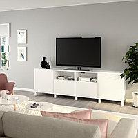 БЕСТО Тумба под ТВ, с дверцами и ящиками, белый, Лаппвик/стуббарп белый, 240x42x74 см, фото 1