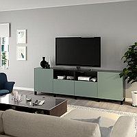 БЕСТО Тумба под ТВ, с дверцами и ящиками, черно-коричневый, нотвикен/стуббарп серо-зеленый, 240x42x74 см, фото 1