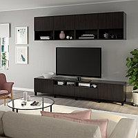 БЕСТО Шкаф для ТВ, комбинация, черно-коричневый, Лаппвик/стуббарп черно-коричневый, 240x42x230 см, фото 1