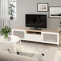 БЕСТО Тумба под ТВ, под беленый дуб, Сельсвикен глянцевый/белый матовое стекло, 180x40x48 см, фото 1