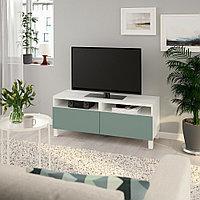 БЕСТО Тумба д/ТВ с ящиками, белый, нотвикен/стуббарп серо-зеленый, 120x42x48 см, фото 1