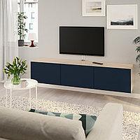 БЕСТО Тумба под ТВ, с дверцами, под беленый дуб, Нотвикен синий, 180x42x38 см, фото 1