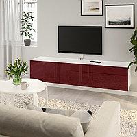 БЕСТО Тумба под ТВ, с дверцами, белый Сельсвикен, глянцевый темный красно-коричневый, 180x42x38 см, фото 1