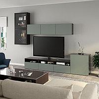 БЕСТО Шкаф для ТВ, комбин/стеклян дверцы, черно-коричневый, Нотвикен серо-зеленый 300x42x211 см, фото 1