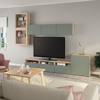 БЕСТО Шкаф для ТВ, комбин/стеклян дверцы, под беленый дуб, Нотвикен серо-зеленый  300x42x211 см, фото 1