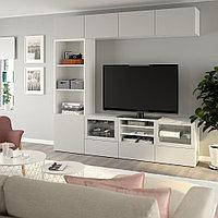 БЕСТО Шкаф для ТВ, комбин/стеклян дверцы, белый, Лаппвикен светло-серый прозрачное стекло, 240x40x230 см, фото 1