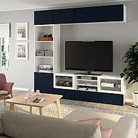 БЕСТО Шкаф для ТВ, комбин/стеклян дверцы, белый, Нотвикен синий прозрачное стекло, 240x42x230 см, фото 1