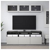 БЕСТО Шкаф для ТВ, комбин/стеклян дверцы, черно-коричневый Синдвик, Лаппвикен светло-серый 180x40x192 см, фото 1