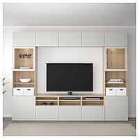 БЕСТО Шкаф для ТВ, комбин/стеклян дверцы, под беленый дуб, Лаппвикен светло-серый 300x40x230 см, фото 1