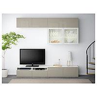 БЕСТО Шкаф для ТВ, комбин/стеклян дверцы, белый, Сельсвикен глянцевый/бежевый прозрачное стекло, 240x40x230 см, фото 1