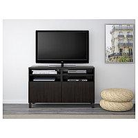 БЕСТО Тумба под ТВ, с дверцами, Лаппвикен черно-коричневый, Лаппвик/стуббарп черно-коричневый, 120x42x74 см, фото 1