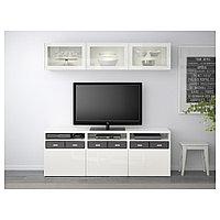БЕСТО Шкаф для ТВ, комбин/стеклян дверцы, белый, Сельсвикен глянцевый/белый прозрачное стекло, 180x40x192 см, фото 1