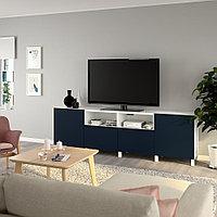 БЕСТО Тумба под ТВ, с дверцами и ящиками, белый, нотвикен/стуббарп синий, 240x42x74 см, фото 1