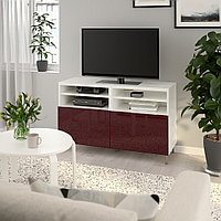 БЕСТО Тумба под ТВ, с дверцами, белый СЕЛЬСВ/СТАЛЛАРП, глянцевый темный красно-коричневый, 120x42x74 см, фото 1