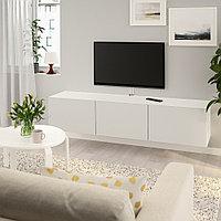 БЕСТО Тумба под ТВ, с дверцами, белый, Лаппвикен светло-серый, 180x42x38 см, фото 1