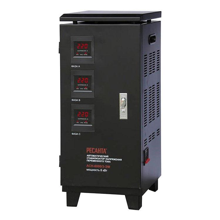 Стабилизатор напряжения РЕСАНТА АСН-6000/3-ЭМ 6 кВт Трехфазный электромеханический
