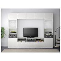БЕСТО Шкаф для ТВ, комбин/стеклян дверцы, белый, Сельсвикен глянцевый/белый матовое стекло, 300x40x230 см, фото 1
