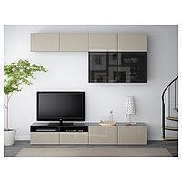 БЕСТО Шкаф для ТВ, комбин/стеклян дверцы, черно-коричневый, Сельсвикен глянцевый/бежевый 240x40x230 см, фото 1