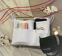 Органайзер двойной текстильный для сумок  белый