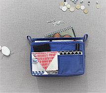 Органайзер двойной текстильный для сумок цветной синий с принтом