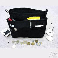 Органайзер двойной текстильный для сумок однотонный черный
