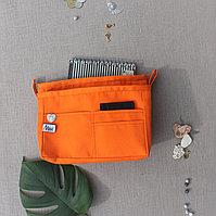 Органайзер двойной текстильный для сумок однотонный ораньжевый