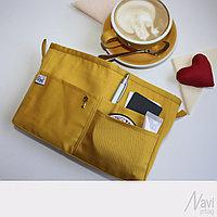 Органайзер одинарный текстильный для сумок однотонный желтый