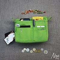 Органайзер двойной текстильный для сумок светло-зеленый