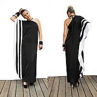 Платье атласное с полосами  с открытым плечом