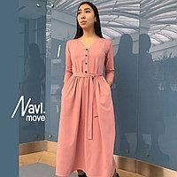 Платье юбка в сборку вырез горл на пуговицах  спереди (до талии)(до низу)