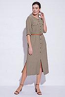 Летнее платье-халат, вискоза, 44-54, хаки, стиль сафари