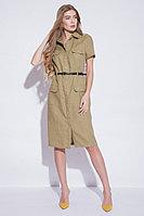 Летнее платье, лен, 42-52, светлый хаки, стиль милитари