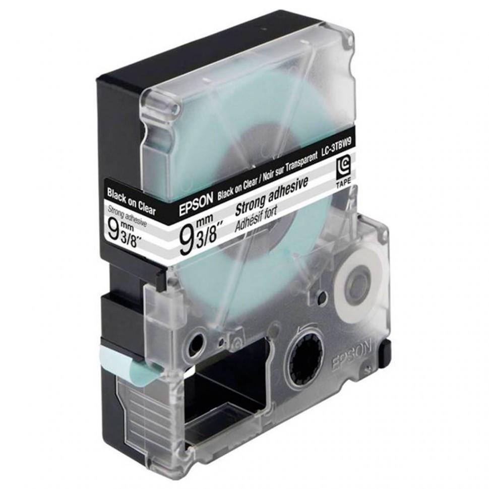 Лента Epson C53S653006 LK-3TBW Повышенной адгезии лента 9мм, Прозр./Черн., 9м