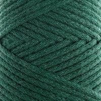 Шнур для вязания без сердечника 100 хлопок, ширина 2мм 100м/95гр (2121 т. зеленый)