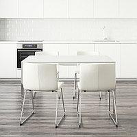 ТОРСБИ / БЕРНГАРД Стол и 4 стула, глянцевый белый, Кават белый, 135 см, фото 1