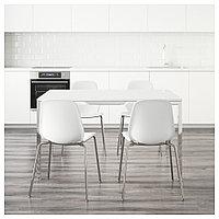 ТОРСБИ / ЛЕЙФ-АРНЕ Стол и 4 стула, глянцевый белый, белый, 135 см, фото 1