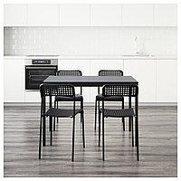 ТЭРЕНДО / АДДЕ Стол и 4 стула, черный, 110 см, фото 1