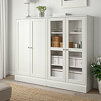 ХАВСТА Комбинация для хранения с сткл двр, белый, 162x37x134 см