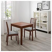 ЭКЕДАЛЕН Раздвижной стол, коричневый, 80/120x70 см, фото 1