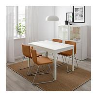 ЭКЕДАЛЕН / БЕРНГАРД Стол и 4 стула, белый, Мьюк золотисто-коричневый, 120/180 см, фото 1