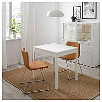 ЭКЕДАЛЕН / БЕРНГАРД Стол и 2 стула, белый, Мьюк золотисто-коричневый, 80/120 см, фото 1