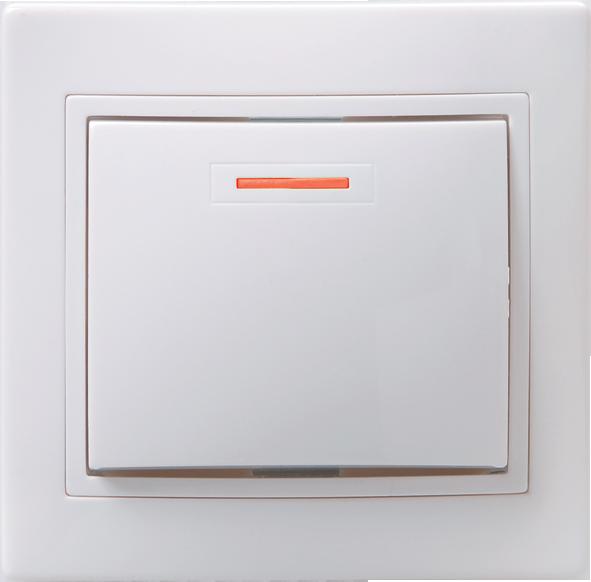 Выключатель ВС 10-1-1-КБ однокл.с инд. 10А КВАРТА (белый) ИЭК