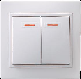 Выключатель ВС 10-2-1-КБ двухкл.с инд. 10А КВАРТА (белый) ИЭК