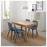 ЭКЕДАЛЕН / ОДГЕР Стол и 4 стула, дуб, синий, 120/180 см, фото 1
