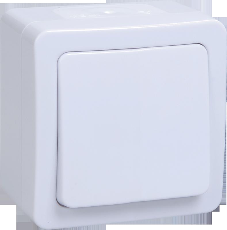 Выключатель ВСк20-1-0-ГПБ 1кл  кноп. о/у  IP54 (цвет клавиш: белый) ГЕРМЕС PLUS ИЭК