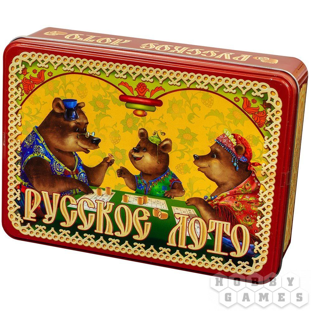 Настольная игра: Лото Русское Три медведя (жестяная коробка)